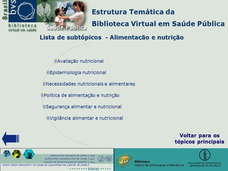 """Estrutura Temática da Biblioteca Virtual em Saúde Pública Lista de subtópicos - Alimentação e nutrição Lista de subtópicos - Alimentação e nutrição """""""