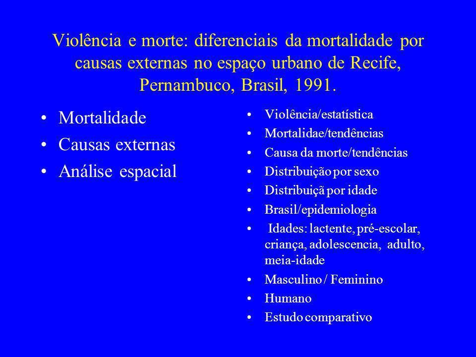 Violência e morte: diferenciais da mortalidade por causas externas no espaço urbano de Recife, Pernambuco, Brasil, 1991. Mortalidade Causas externas A