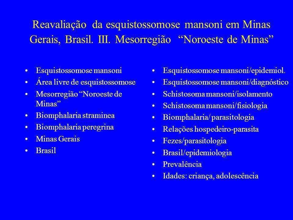 Reavaliação da esquistossomose mansoni em Minas Gerais, Brasil. III. Mesorregião Noroeste de Minas Esquistossomose mansoni Área livre de esquistossomo