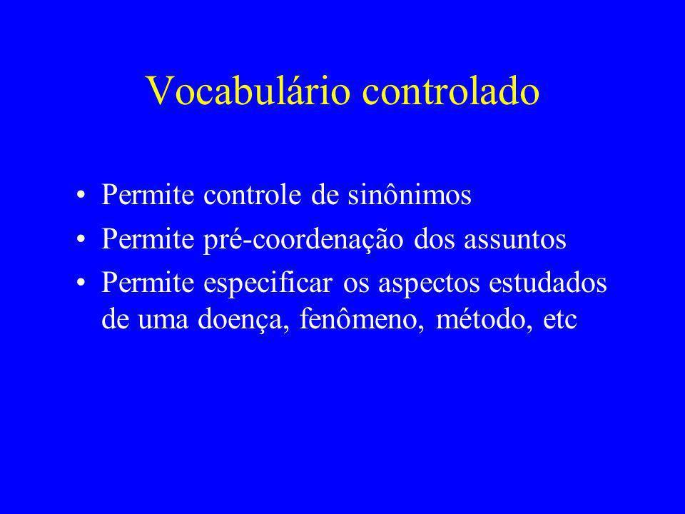 Vocabulário controlado Permite controle de sinônimos Permite pré-coordenação dos assuntos Permite especificar os aspectos estudados de uma doença, fen