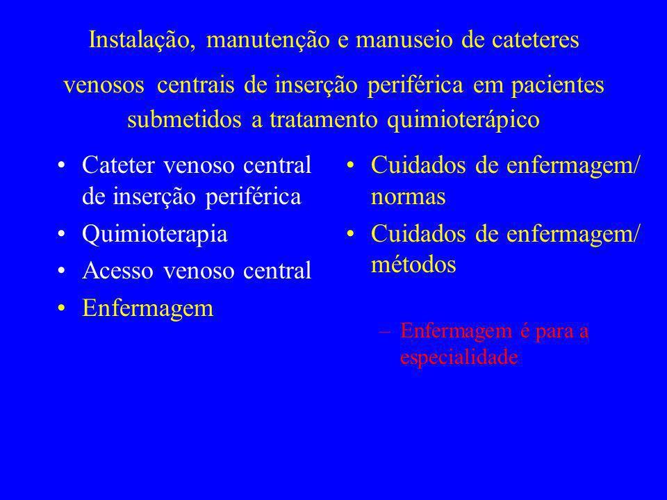 Instalação, manutenção e manuseio de cateteres venosos centrais de inserção periférica em pacientes submetidos a tratamento quimioterápico Cateter ven
