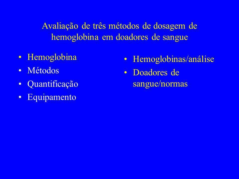 Avaliação de três métodos de dosagem de hemoglobina em doadores de sangue Hemoglobina Métodos Quantificação Equipamento Hemoglobinas/análise Doadores