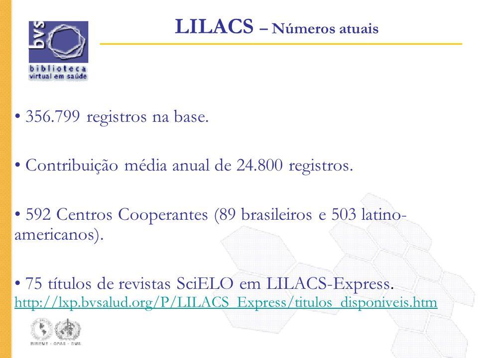 LILACS – Números atuais 356.799 registros na base. Contribuição média anual de 24.800 registros. 592 Centros Cooperantes (89 brasileiros e 503 latino-