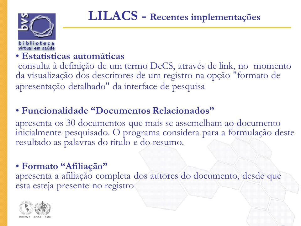Estatísticas automáticas consulta à definição de um termo DeCS, através de link, no momento da visualização dos descritores de um registro na opção