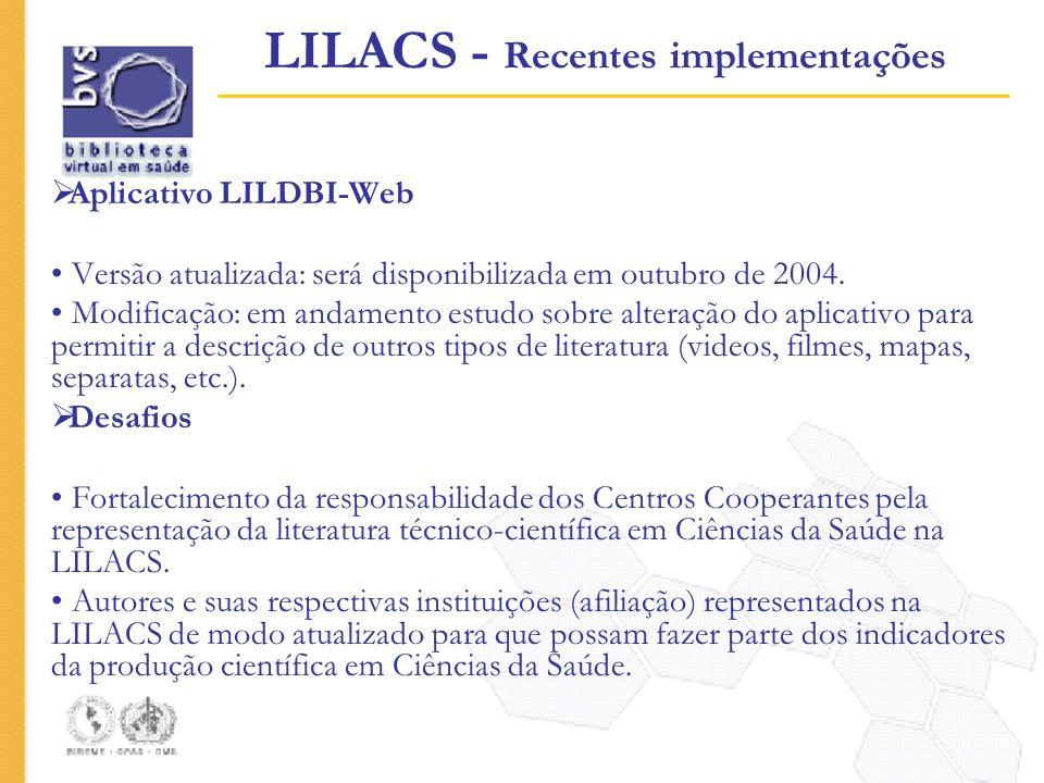 Aplicativo LILDBI-Web Versão atualizada: será disponibilizada em outubro de 2004. Modificação: em andamento estudo sobre alteração do aplicativo para