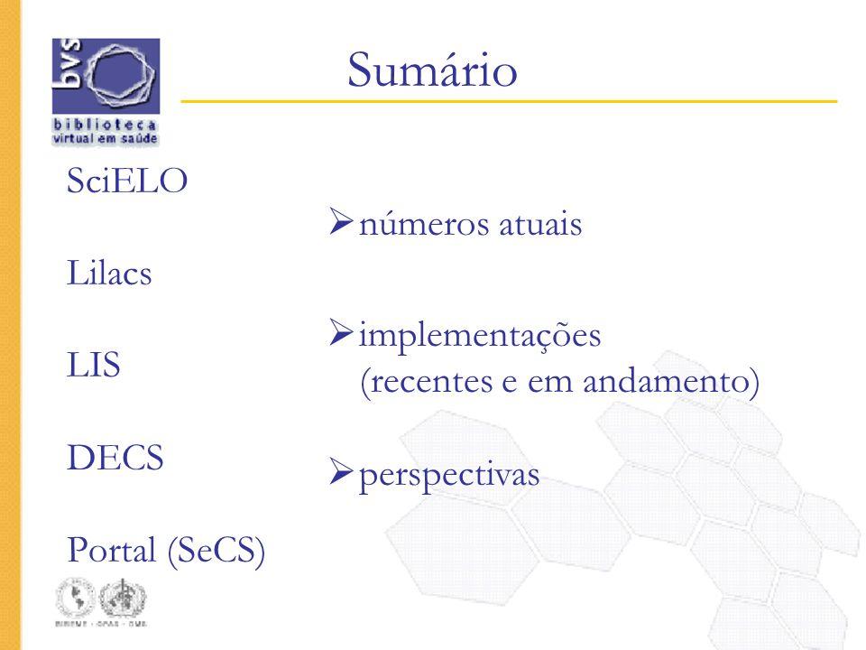 Sumário SciELO Lilacs LIS DECS Portal (SeCS) números atuais implementações (recentes e em andamento) perspectivas