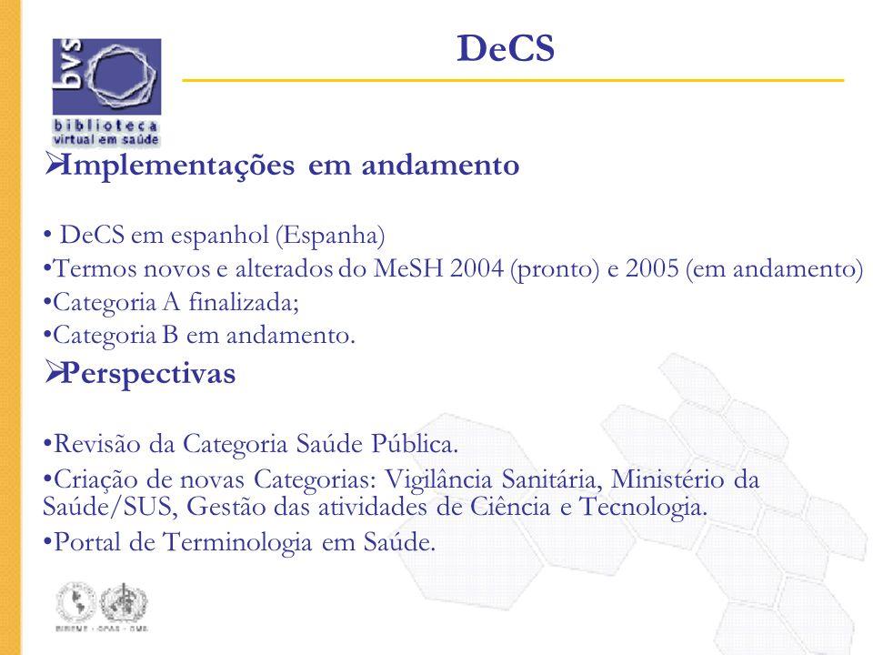 Implementações em andamento DeCS em espanhol (Espanha) Termos novos e alterados do MeSH 2004 (pronto) e 2005 (em andamento) Categoria A finalizada; Ca
