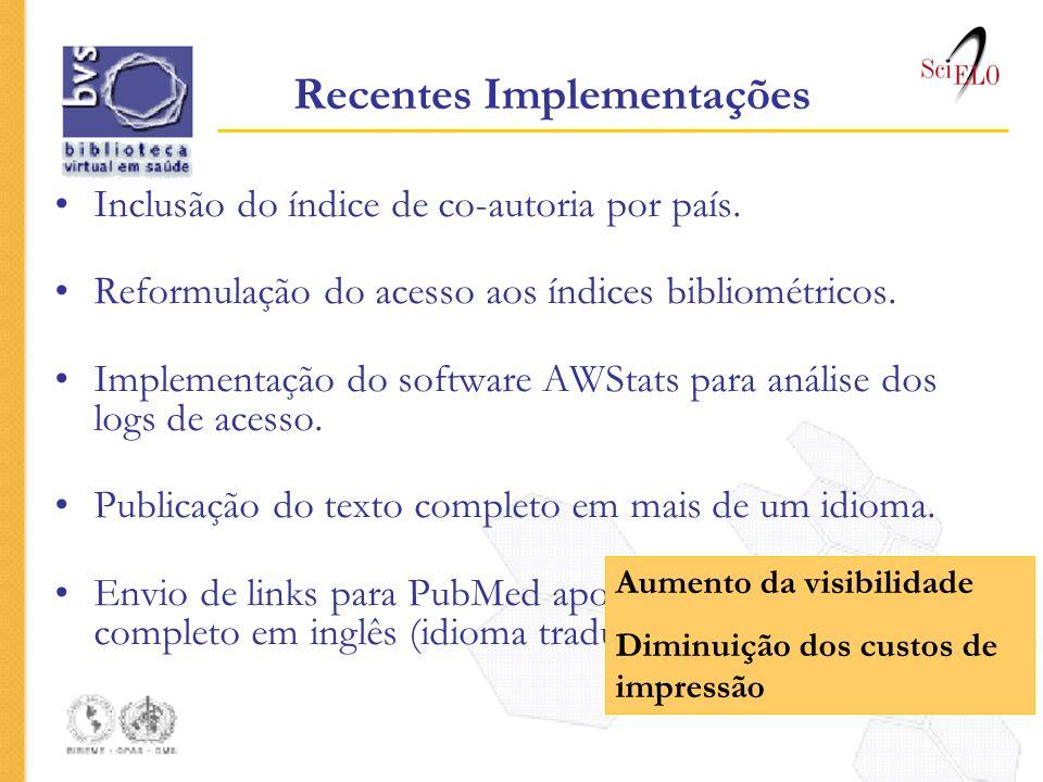 Inclusão do índice de co-autoria por país. Reformulação do acesso aos índices bibliométricos. Implementação do software AWStats para análise dos logs
