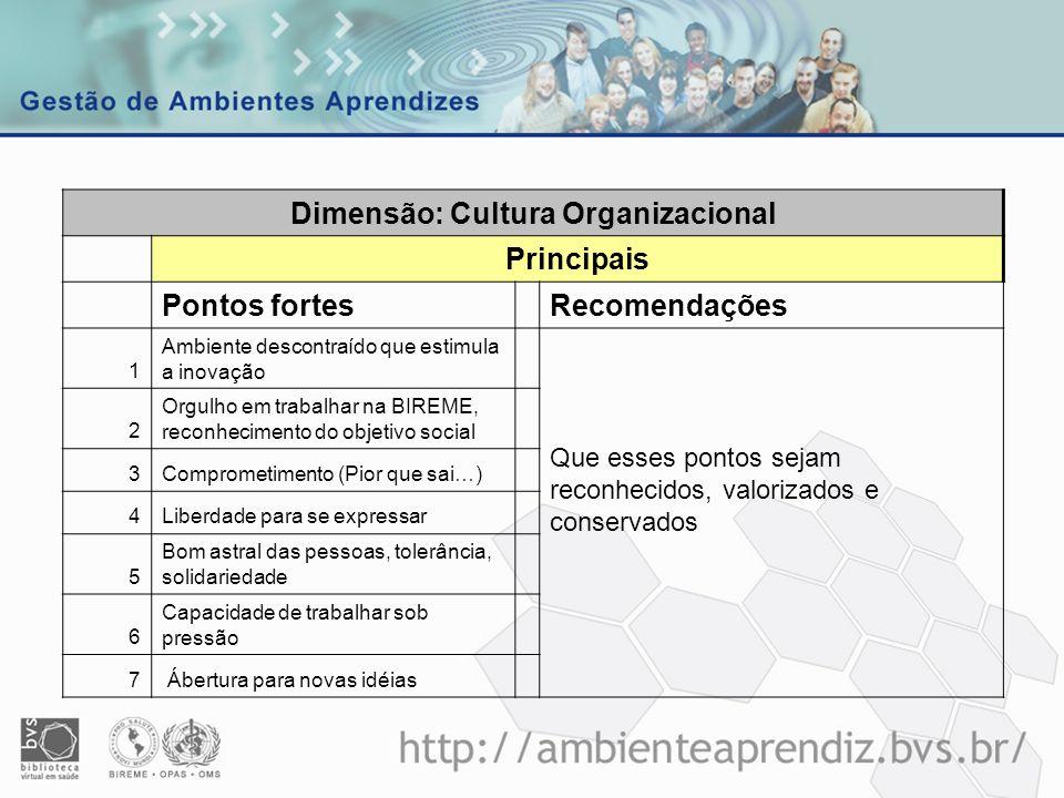 Dimensão: Cultura Organizacional Principais Pontos fortesRecomendações 1 Ambiente descontraído que estimula a inovação Que esses pontos sejam reconhec