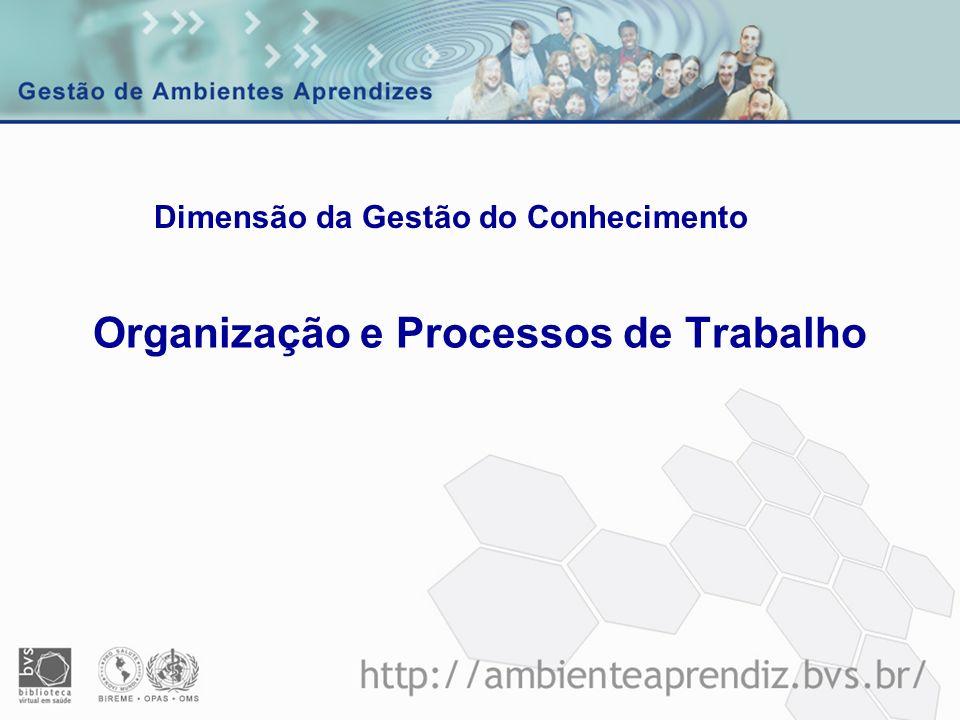 Tópicos de abrangência - Trabalho em equipe - Flexibilidade organizacional - Novas formas organizacionais - Processos para organização da informação - Processos estruturados para reflexão e aprendizado - Processo decisório - Documentação de processos Organização e processos de trabalho