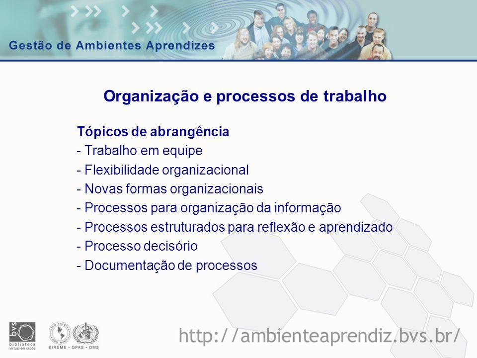 Tópicos de abrangência - Trabalho em equipe - Flexibilidade organizacional - Novas formas organizacionais - Processos para organização da informação -