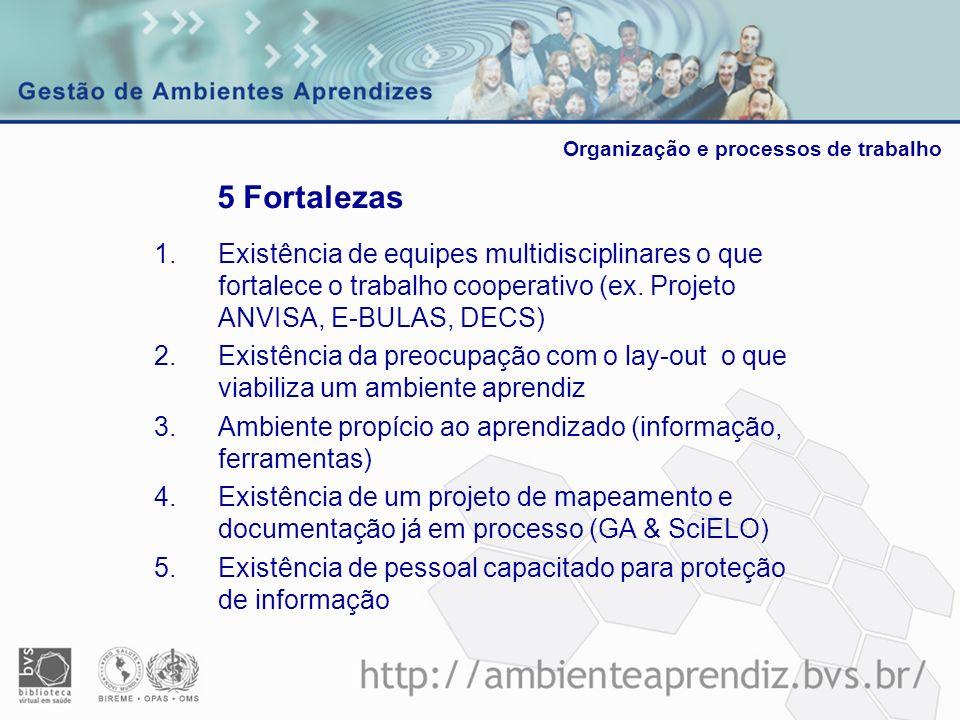 1.Existência de equipes multidisciplinares o que fortalece o trabalho cooperativo (ex. Projeto ANVISA, E-BULAS, DECS) 2.Existência da preocupação com