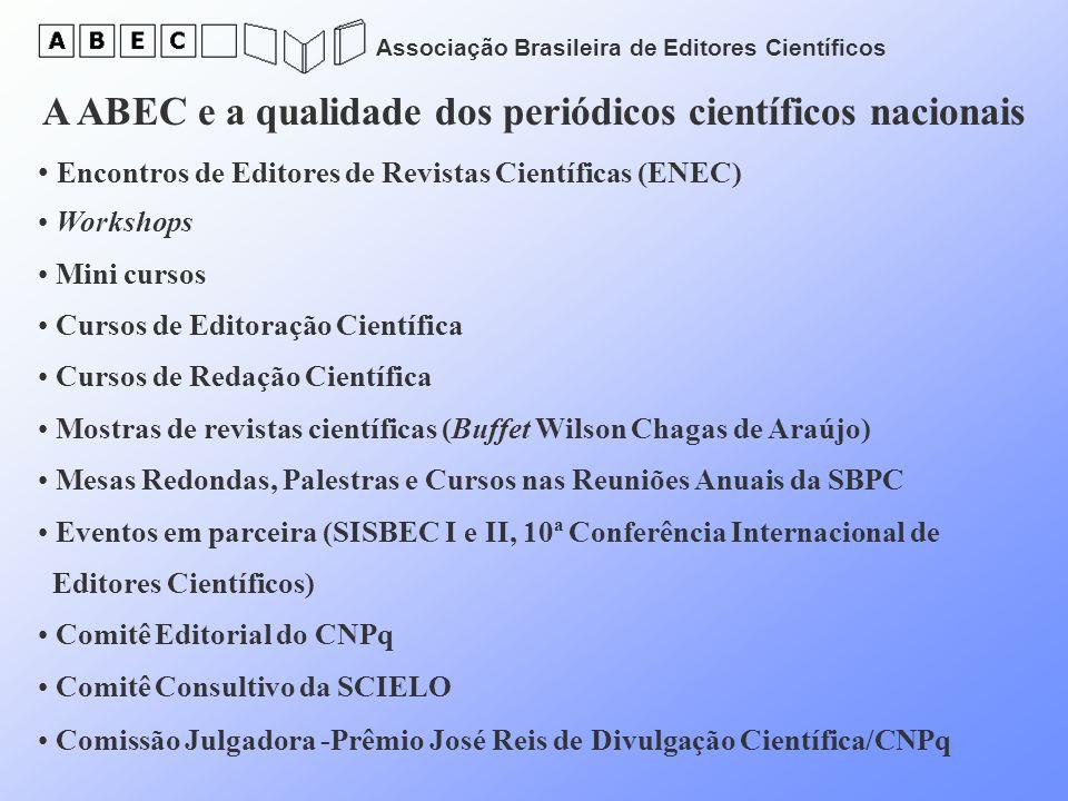 Associação Brasileira de Editores Científicos A ABEC e a qualidade dos periódicos científicos nacionais Encontros de Editores de Revistas Científicas