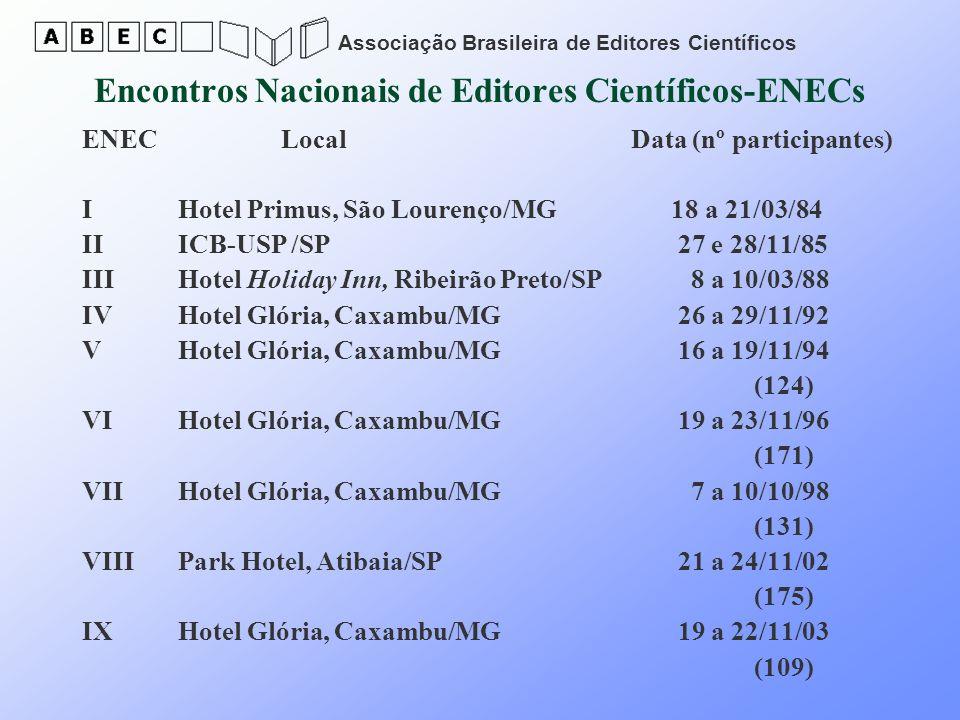 Associação Brasileira de Editores Científicos Encontros Nacionais de Editores Científicos-ENECs ENEC Local Data (nº participantes) I Hotel Primus, São