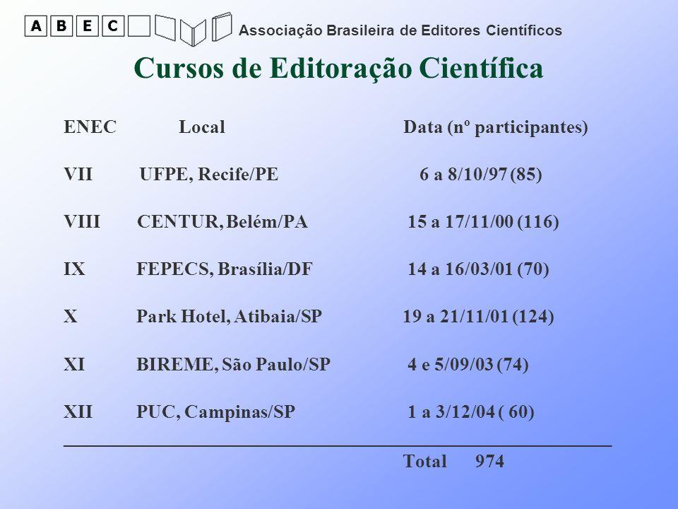 Associação Brasileira de Editores Científicos Cursos de Editoração Científica ENEC Local Data (nº participantes) VII UFPE, Recife/PE 6 a 8/10/97 (85)