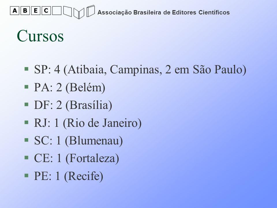 Associação Brasileira de Editores Científicos Cursos §SP: 4 (Atibaia, Campinas, 2 em São Paulo) §PA: 2 (Belém) §DF: 2 (Brasília) §RJ: 1 (Rio de Janeir
