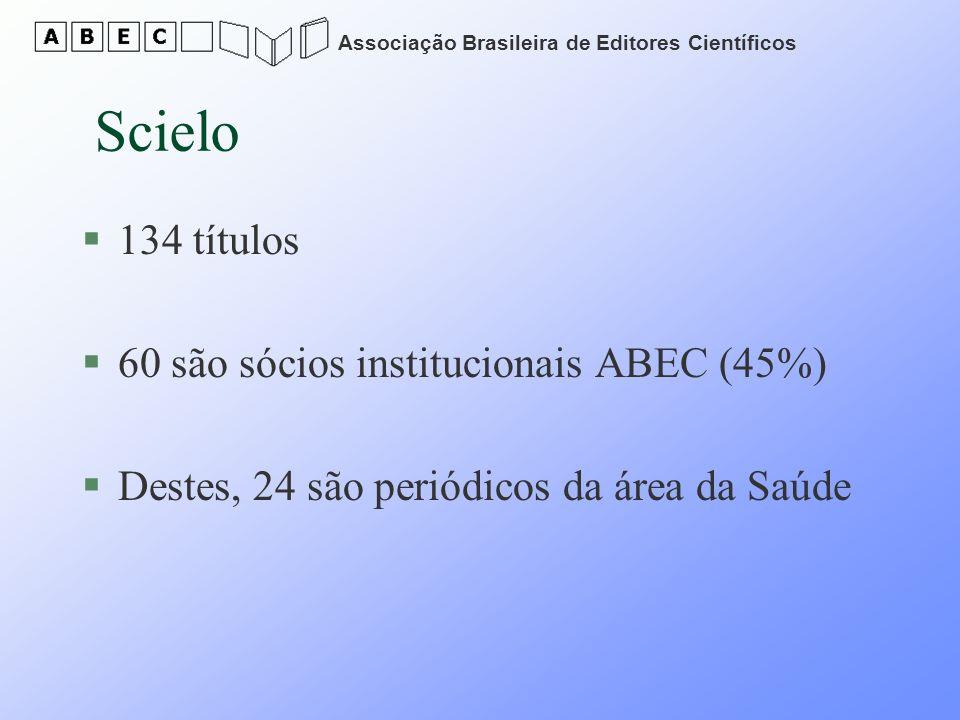 Associação Brasileira de Editores Científicos Scielo §134 títulos §60 são sócios institucionais ABEC (45%) §Destes, 24 são periódicos da área da Saúde