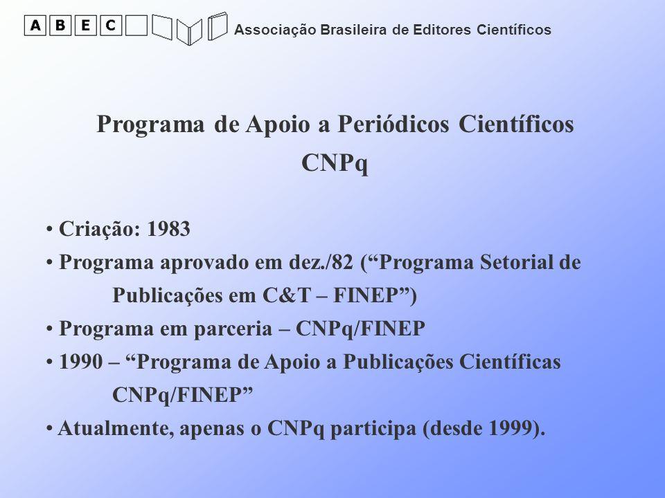 Associação Brasileira de Editores Científicos Programa de Apoio a Periódicos Científicos CNPq Criação: 1983 Programa aprovado em dez./82 (Programa Set