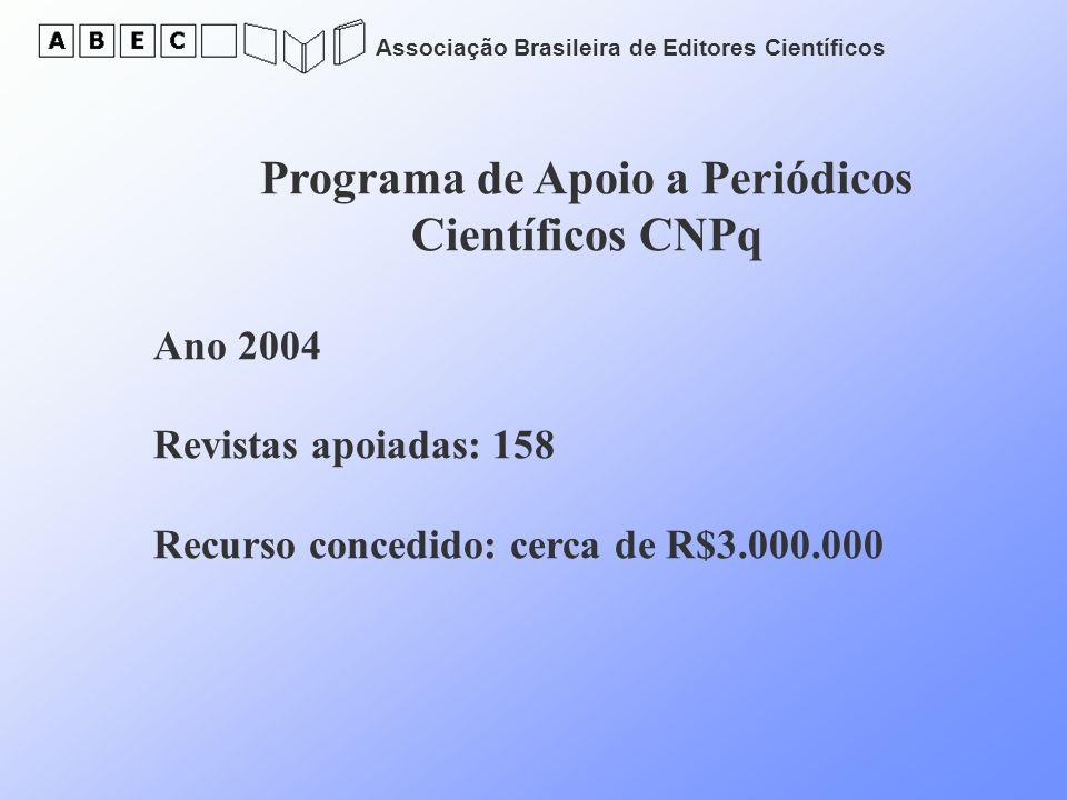 Associação Brasileira de Editores Científicos Programa de Apoio a Periódicos Científicos CNPq Ano 2004 Revistas apoiadas: 158 Recurso concedido: cerca