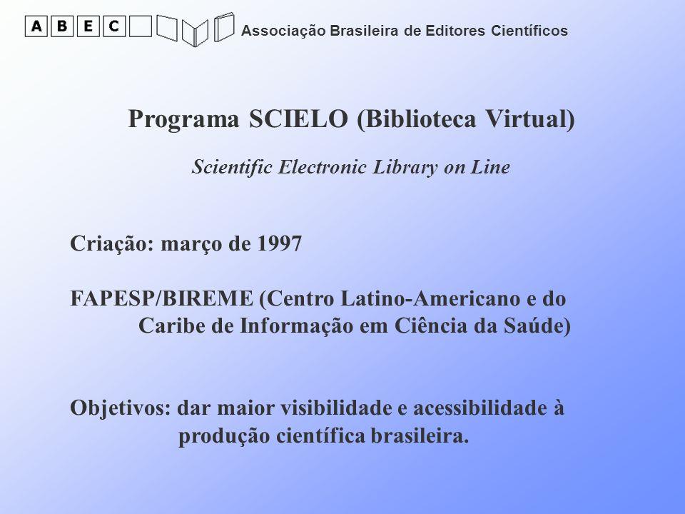 Associação Brasileira de Editores Científicos Programa SCIELO (Biblioteca Virtual) Scientific Electronic Library on Line Criação: março de 1997 FAPESP