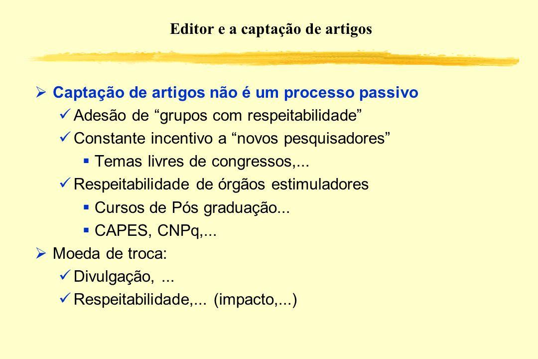 Editor e a captação de artigos Captação de artigos não é um processo passivo Adesão de grupos com respeitabilidade Constante incentivo a novos pesquis