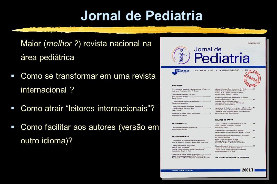 Jornal de Pediatria Maior (melhor ?) revista nacional na área pediátrica Como se transformar em uma revista internacional ? Como atrair leitores inter