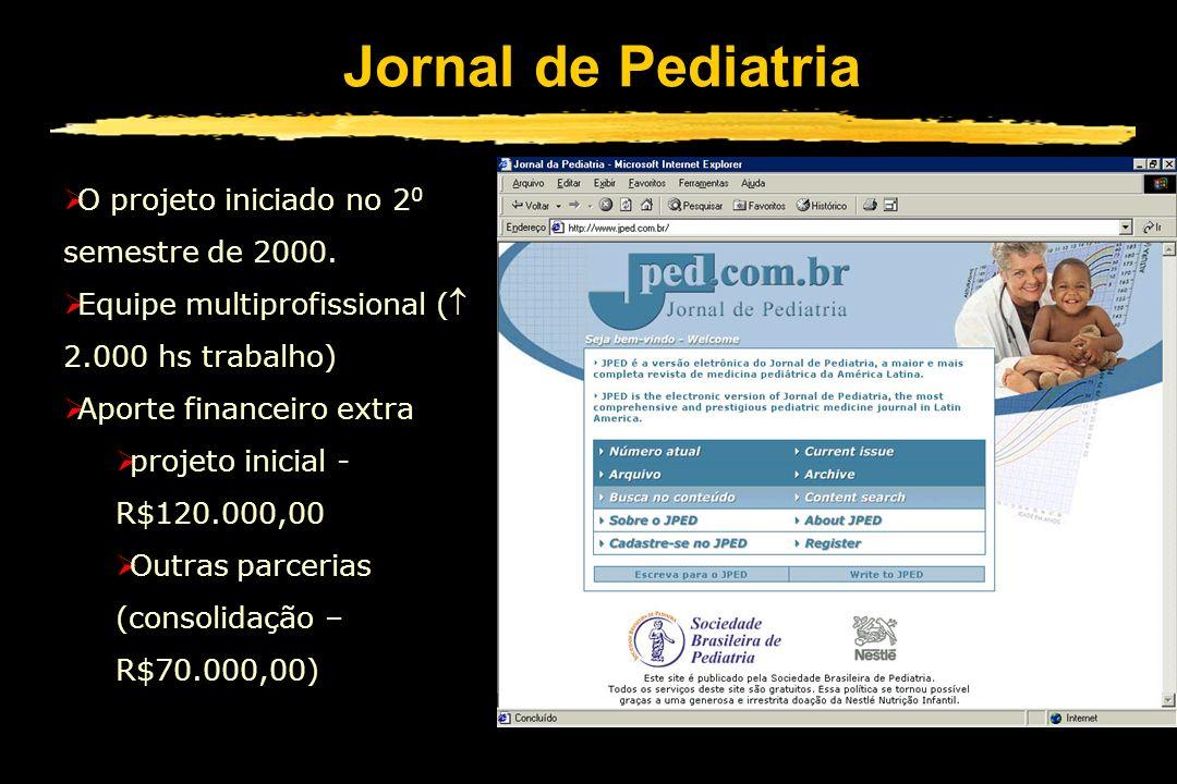 Jornal de Pediatria O projeto iniciado no 2 0 semestre de 2000. Equipe multiprofissional ( 2.000 hs trabalho) Aporte financeiro extra projeto inicial