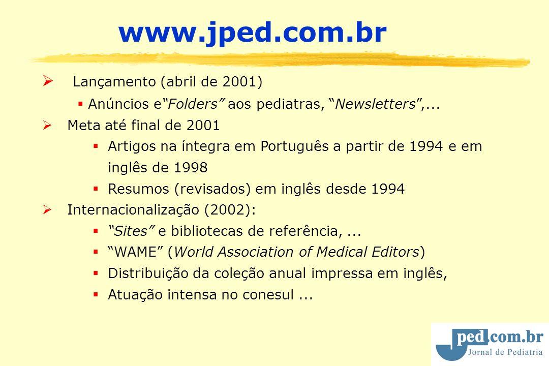 Lançamento (abril de 2001) Anúncios eFolders aos pediatras, Newsletters,... Meta até final de 2001 Artigos na íntegra em Português a partir de 1994 e