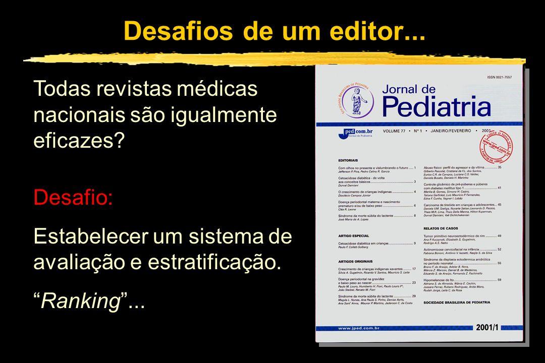 Desafios de um editor... Todas revistas médicas nacionais são igualmente eficazes? Desafio: Estabelecer um sistema de avaliação e estratificação. Rank