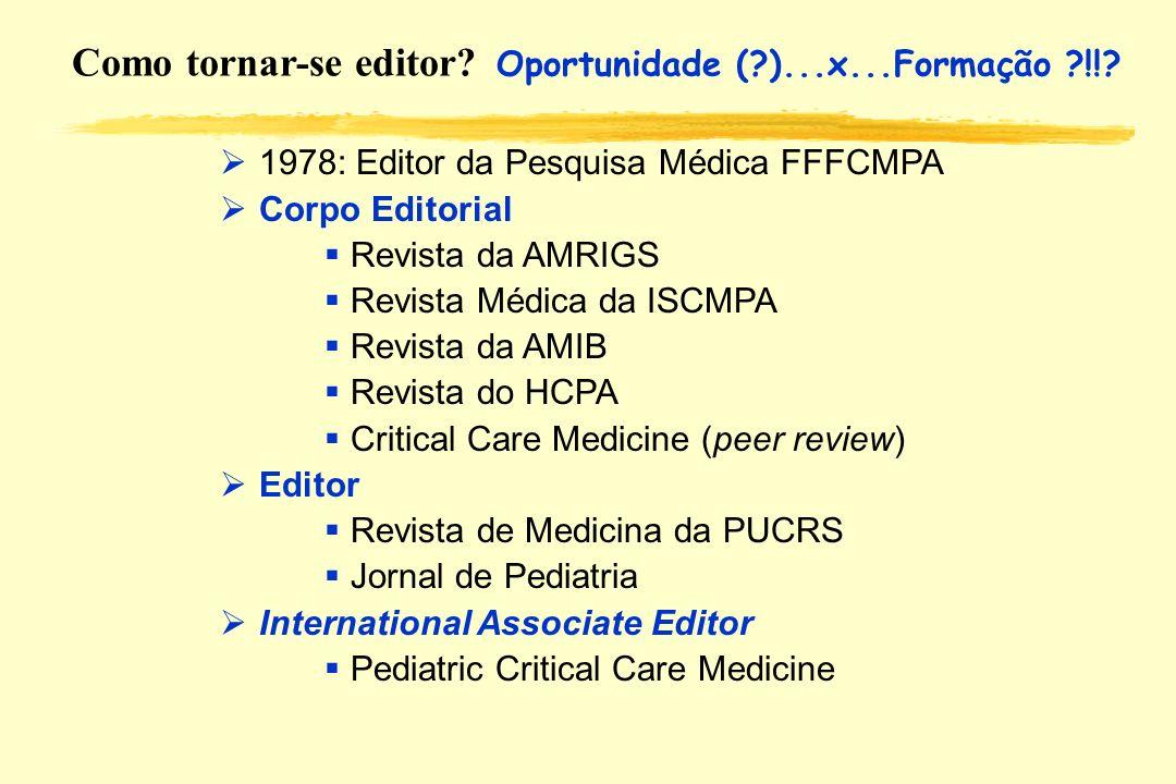 Como tornar-se editor? Oportunidade (?)...x...Formação ?!!? 1978: Editor da Pesquisa Médica FFFCMPA Corpo Editorial Revista da AMRIGS Revista Médica d