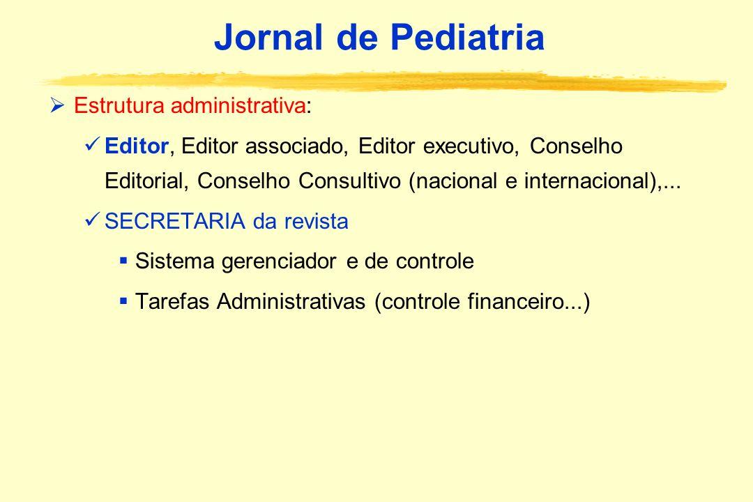 Jornal de Pediatria Estrutura administrativa: Editor, Editor associado, Editor executivo, Conselho Editorial, Conselho Consultivo (nacional e internac
