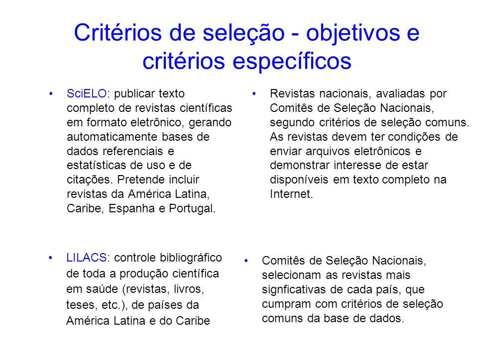 Critérios de seleção - objetivos e critérios específicos SciELO: publicar texto completo de revistas científicas em formato eletrônico, gerando automa