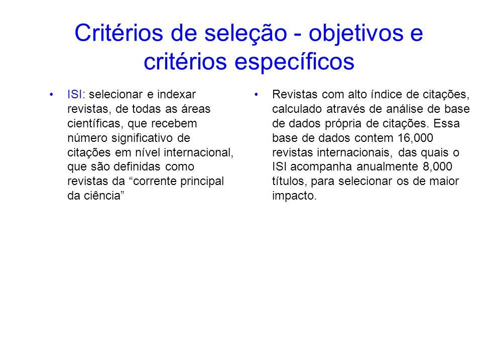 Critérios de seleção - objetivos e critérios específicos ISI: selecionar e indexar revistas, de todas as áreas científicas, que recebem número signifi