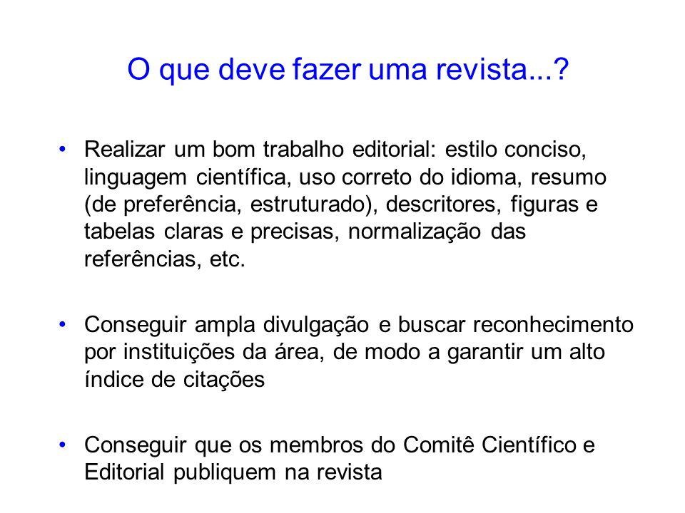 O que deve fazer uma revista...? Realizar um bom trabalho editorial: estilo conciso, linguagem científica, uso correto do idioma, resumo (de preferênc