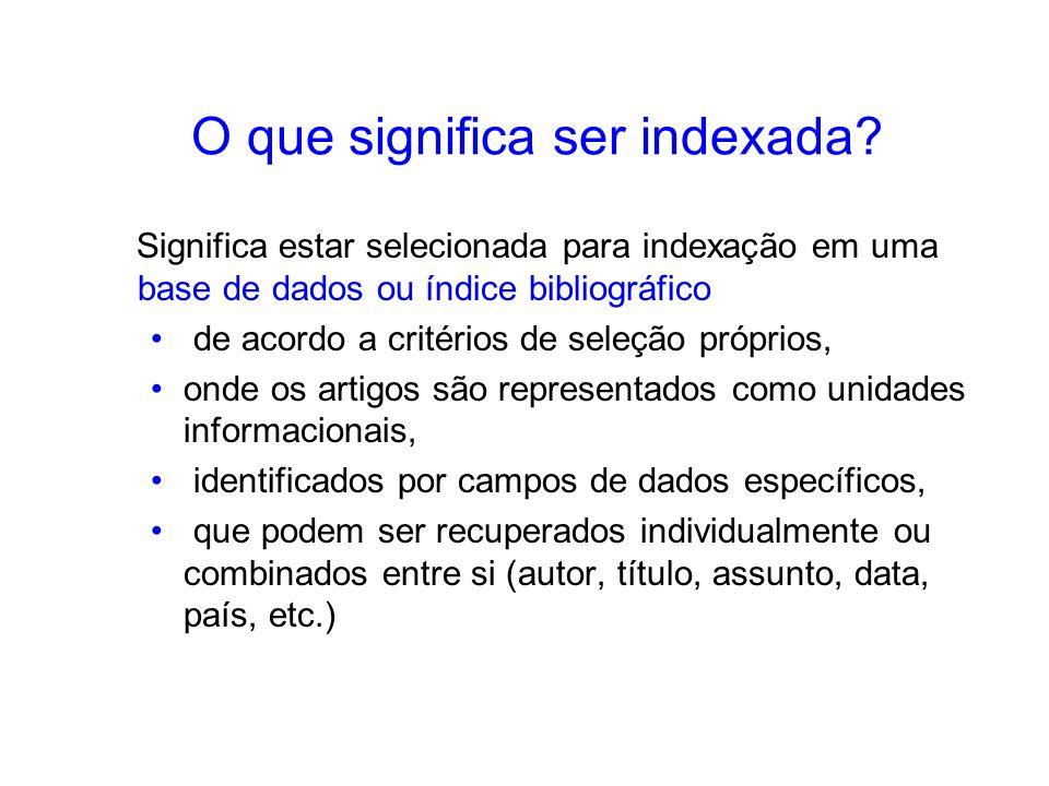 O que significa ser indexada? Significa estar selecionada para indexação em uma base de dados ou índice bibliográfico de acordo a critérios de seleção