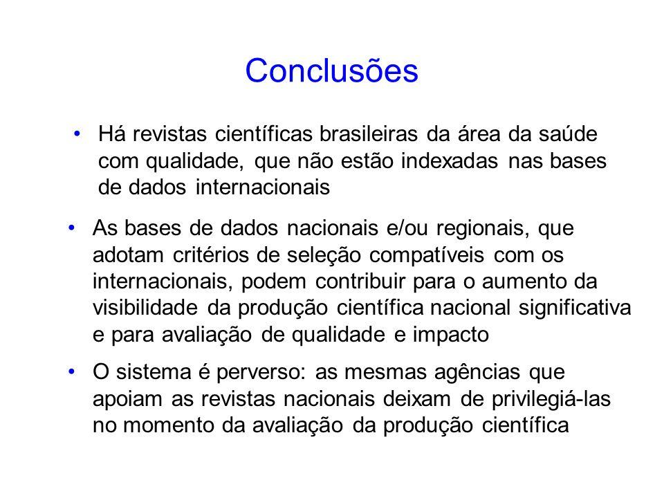 Conclusões Há revistas científicas brasileiras da área da saúde com qualidade, que não estão indexadas nas bases de dados internacionais As bases de d