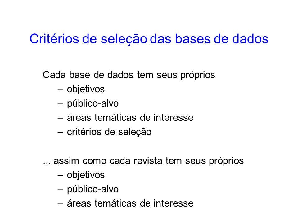 A maior parte das bases de dados tem seus critérios de seleção divulgados nos sites –MEDLINE: http://www.nlm.nih.gov/pubs/factsheets/jsel.html –EMBASE: http://www.elsevier.nl/homepage/sah/spd/site/embase/embase_faqs.html –ISI/Thomson Scientific: http://www.isinet.com/isi/hot/essays/selectionofmaterialforcoverage/ 199701.html –SciELO: http://www.scielo.br/criteria/scielo_brasil_pt.html –LILACS: http://www.bireme.br/abd/P/selecao.htm