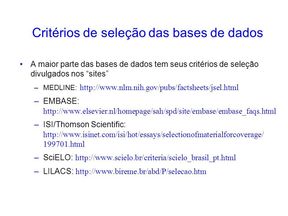 A maior parte das bases de dados tem seus critérios de seleção divulgados nos sites –MEDLINE: http://www.nlm.nih.gov/pubs/factsheets/jsel.html –EMBASE