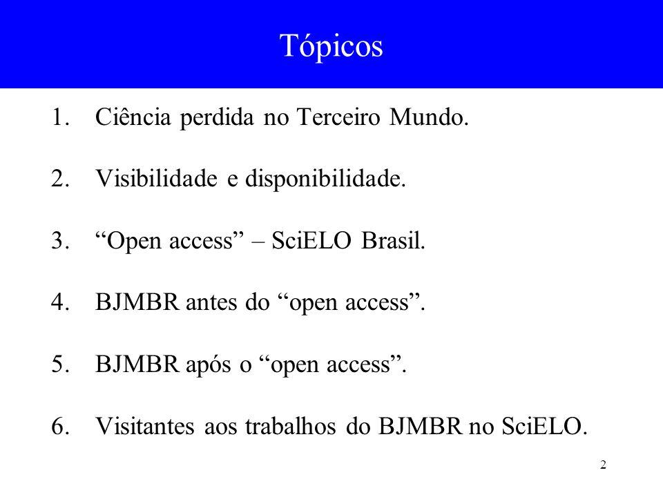 2 1.Ciência perdida no Terceiro Mundo. 2.Visibilidade e disponibilidade. 3.Open access – SciELO Brasil. 4.BJMBR antes do open access. 5.BJMBR após o o