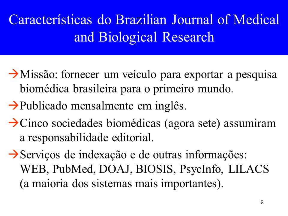 9 Características do Brazilian Journal of Medical and Biological Research Missão: fornecer um veículo para exportar a pesquisa biomédica brasileira pa