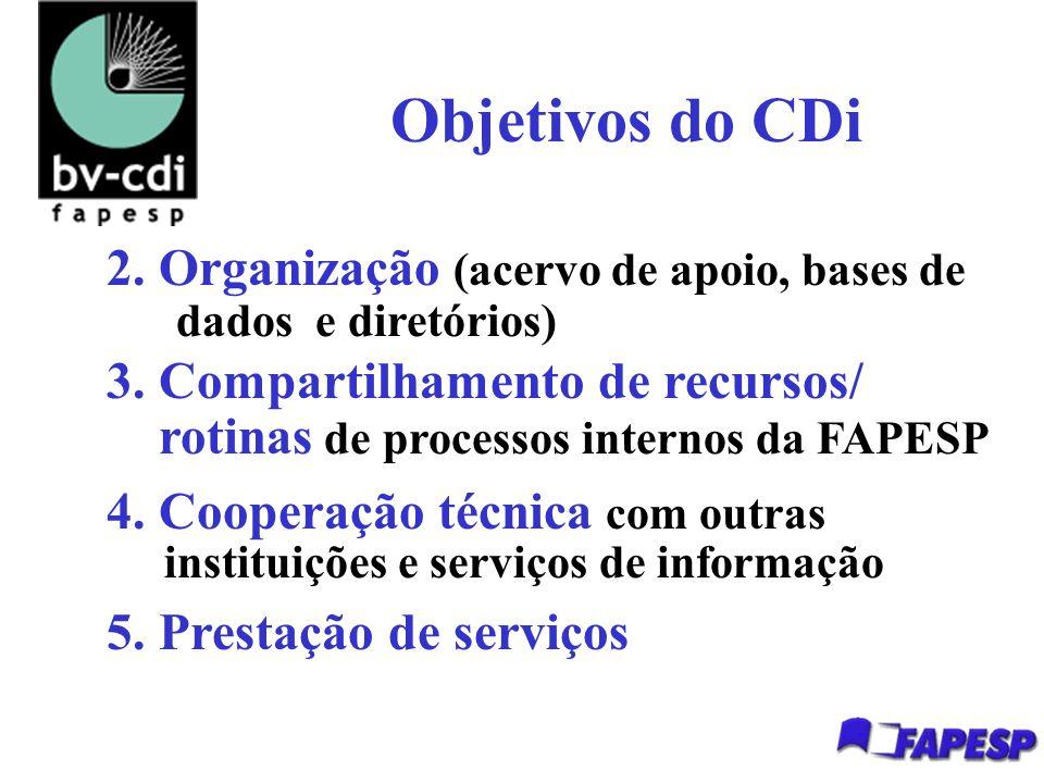 Objetivos do CDi 2. Organização (acervo de apoio, bases de dados e diretórios) 3.