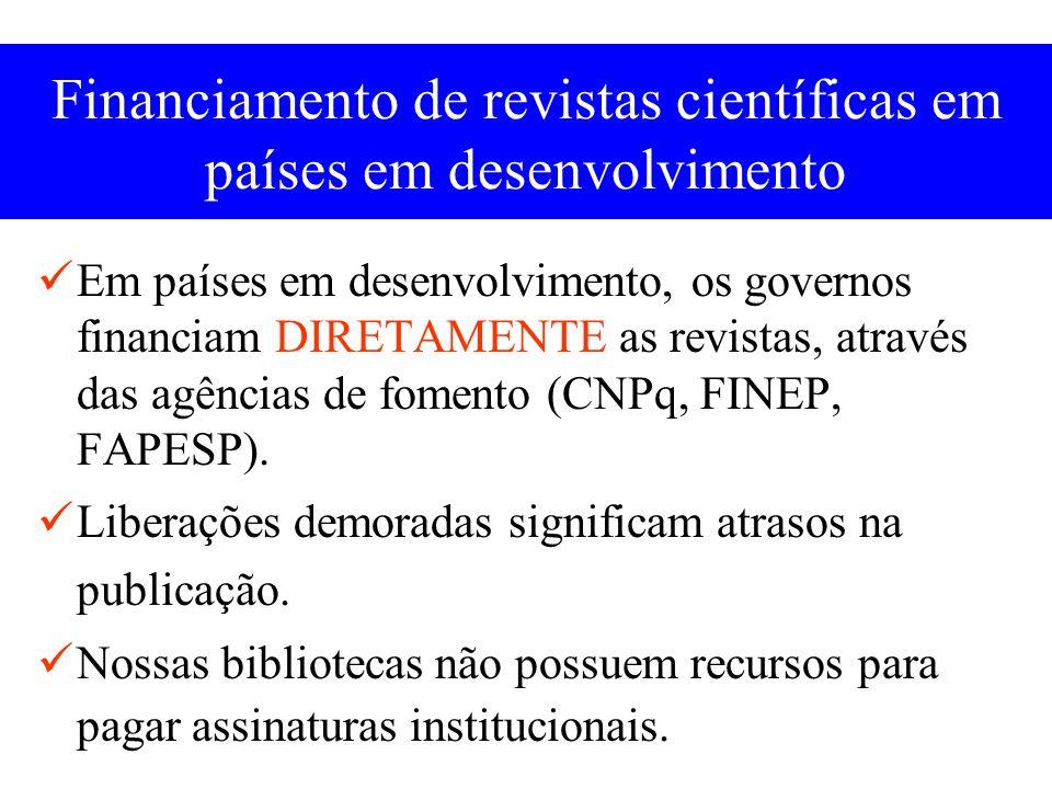 Financiamento de revistas científicas Programa CNPq 2003 Recursos R$3.000.000,00/150 revistas/ano R$20.000,00/revista/ano Pulverização de dinheiro!!!!