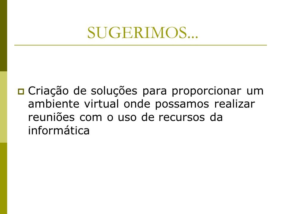 SUGERIMOS... Criação de soluções para proporcionar um ambiente virtual onde possamos realizar reuniões com o uso de recursos da informática