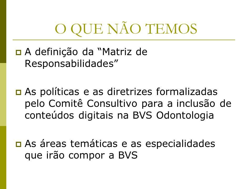 O QUE NÃO TEMOS A definição da Matriz de Responsabilidades As políticas e as diretrizes formalizadas pelo Comitê Consultivo para a inclusão de conteúd