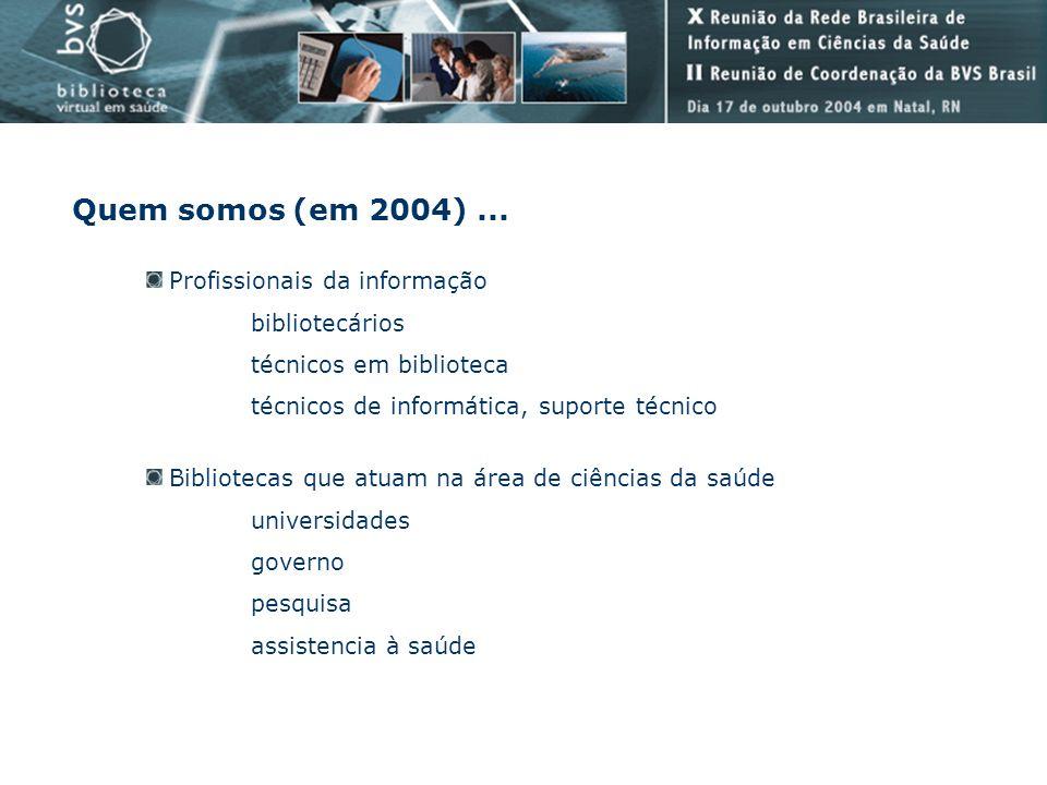 Quem somos (em 2004)... Bibliotecas que atuam na área de ciências da saúde universidades governo pesquisa assistencia à saúde Profissionais da informa