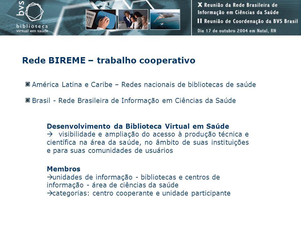 Rede BIREME – trabalho cooperativo América Latina e Caribe – Redes nacionais de bibliotecas de saúde Brasil - Rede Brasileira de Informação em Ciência