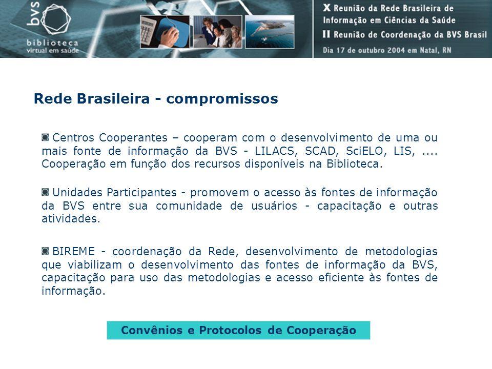 Rede Brasileira - compromissos Centros Cooperantes – cooperam com o desenvolvimento de uma ou mais fonte de informação da BVS - LILACS, SCAD, SciELO,