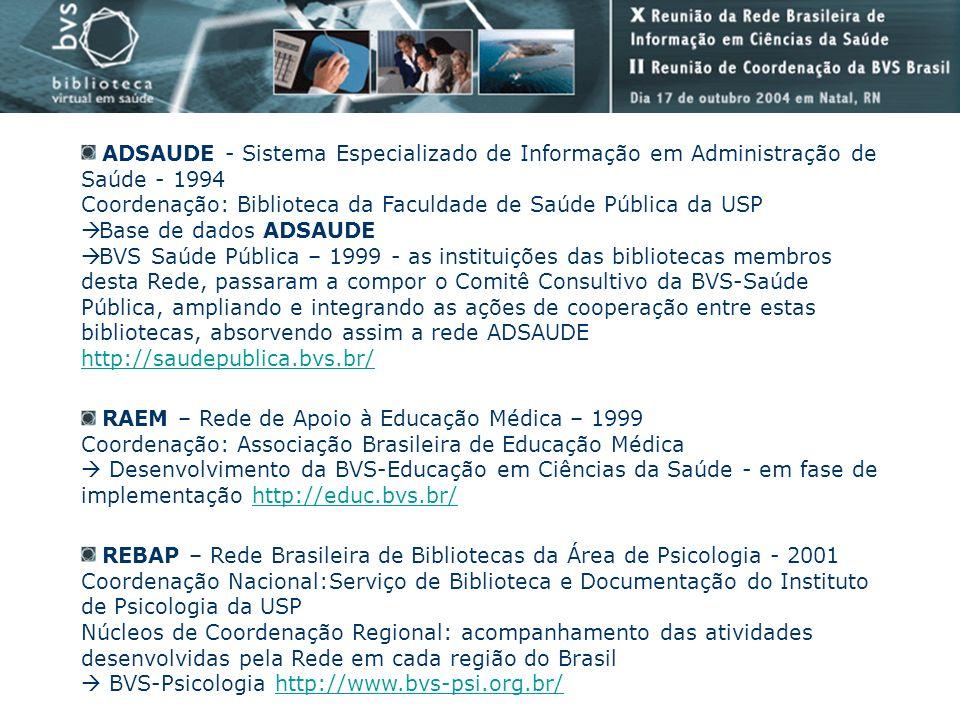 RAEM – Rede de Apoio à Educação Médica – 1999 Coordenação: Associação Brasileira de Educação Médica Desenvolvimento da BVS-Educação em Ciências da Saú
