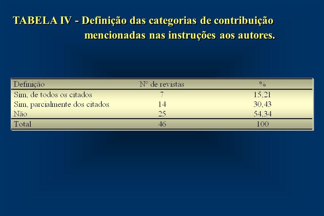 TABELA IV - Definição das categorias de contribuição mencionadas nas instruções aos autores.