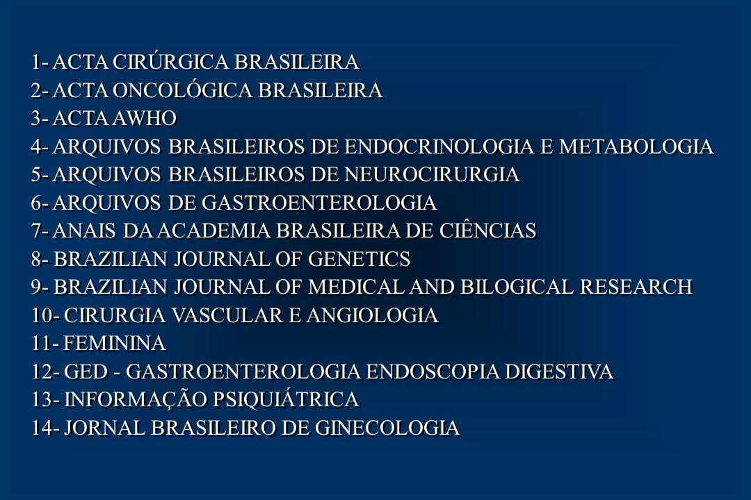15- JORNAL BRASILEIRO DE PATOLOGIA 16- JORNAL BRASILEIRO DE PSIQUIATRIA 17- JORNAL BRASILEIRO DE UROLOGIA 18- JORNAL BRASILEIRO DE PEDIATRIA 19- JORNAL DE PNEUMOLOGIA 20- MEDICINA DE REABILITAÇÃO 21- MEMÓRIAS DO INSTITUTO OSWALDO CRUZ 22- PEDIATRIA 23- REVISTA DA ASSOCIAÇÃO MÉDICA BRASILEIRA 24- REVISTA DA ASSOCIAÇÃO PAULISTA DE CIRURGIÕES DENTISTAS 25- RADIOLOGIA BRASILEIRA 26- REVISTA BRASILEIRA DE ANÁLISES CLÍNICAS 27- REVISTA BRASILEIRA DE ALERGIA E IMUNOPATOLOGIA 28- REVISTA BRASILEIRA DE ANESTESIOLOGIA 29- REVISTA BRASILEIRA DE CIRURGIA CÁRDIO-VASCULAR 30- REVISTA BRASILEIRA DE COLOPROCTOLOGIA 15- JORNAL BRASILEIRO DE PATOLOGIA 16- JORNAL BRASILEIRO DE PSIQUIATRIA 17- JORNAL BRASILEIRO DE UROLOGIA 18- JORNAL BRASILEIRO DE PEDIATRIA 19- JORNAL DE PNEUMOLOGIA 20- MEDICINA DE REABILITAÇÃO 21- MEMÓRIAS DO INSTITUTO OSWALDO CRUZ 22- PEDIATRIA 23- REVISTA DA ASSOCIAÇÃO MÉDICA BRASILEIRA 24- REVISTA DA ASSOCIAÇÃO PAULISTA DE CIRURGIÕES DENTISTAS 25- RADIOLOGIA BRASILEIRA 26- REVISTA BRASILEIRA DE ANÁLISES CLÍNICAS 27- REVISTA BRASILEIRA DE ALERGIA E IMUNOPATOLOGIA 28- REVISTA BRASILEIRA DE ANESTESIOLOGIA 29- REVISTA BRASILEIRA DE CIRURGIA CÁRDIO-VASCULAR 30- REVISTA BRASILEIRA DE COLOPROCTOLOGIA